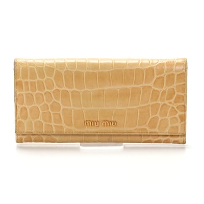Miu Miu St. Cocco Long Wallet in Crocodile Embossed Leather