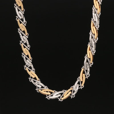 18K and Platinum Two Tone Fancy Link Chain Necklace