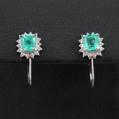 Platinum Emerald and Diamond French Screw Back Earrings