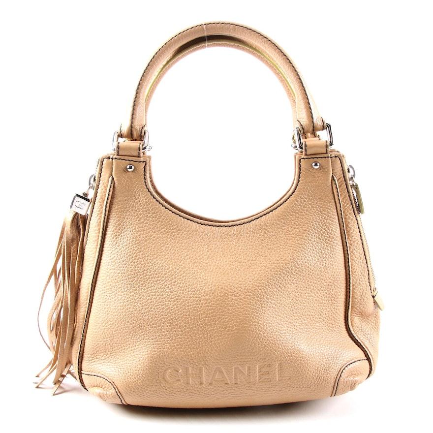 Chanel Lax Shoulder Bag in Pebbled Leather with Fringe Tassel