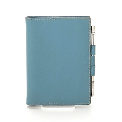 Hermès Globetrotter Mini Agenda Cover in Blue Clemence Leather with Sterling Pen