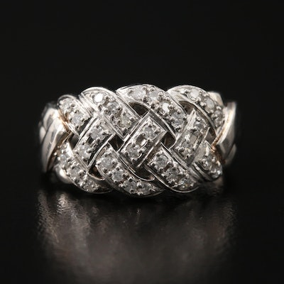 Platinum Diamond Woven Ring