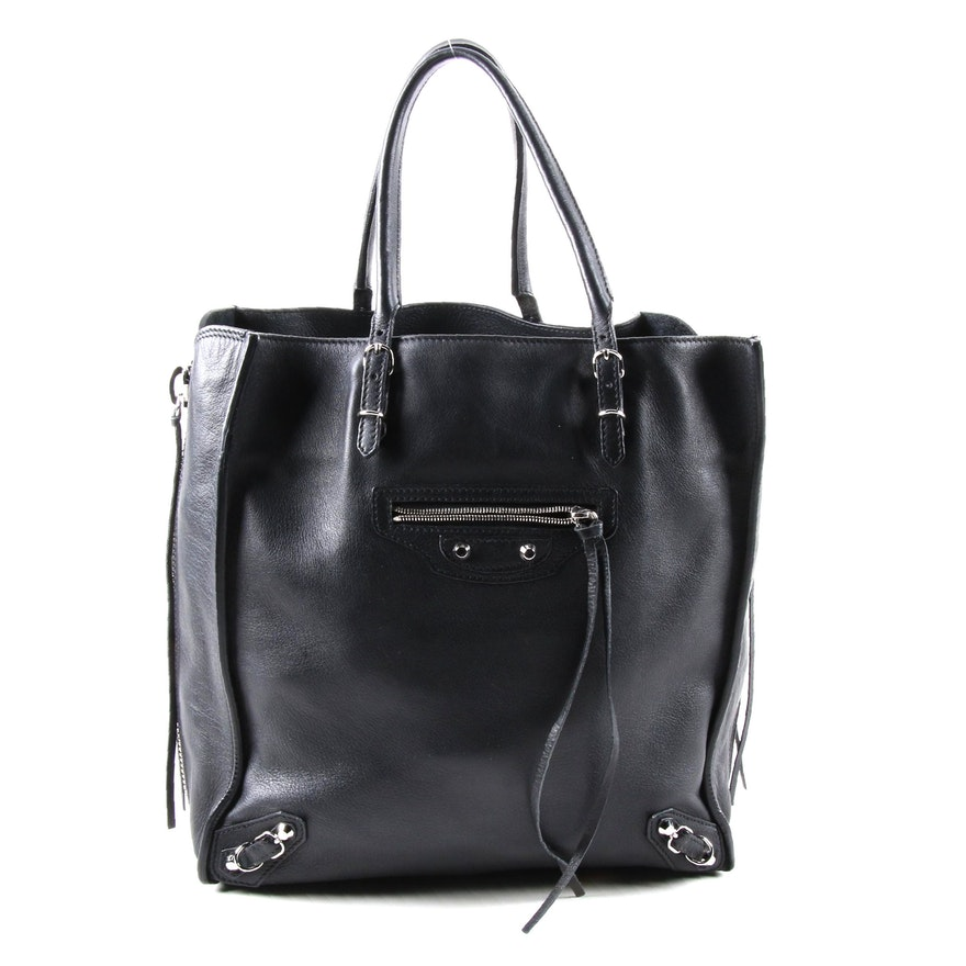 Balenciaga Veau Papier A5 Zip Around Tote in Black Grained Leather