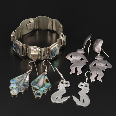 Abalone Inlay, Dancing Figural and Feline Sterling Jewelry