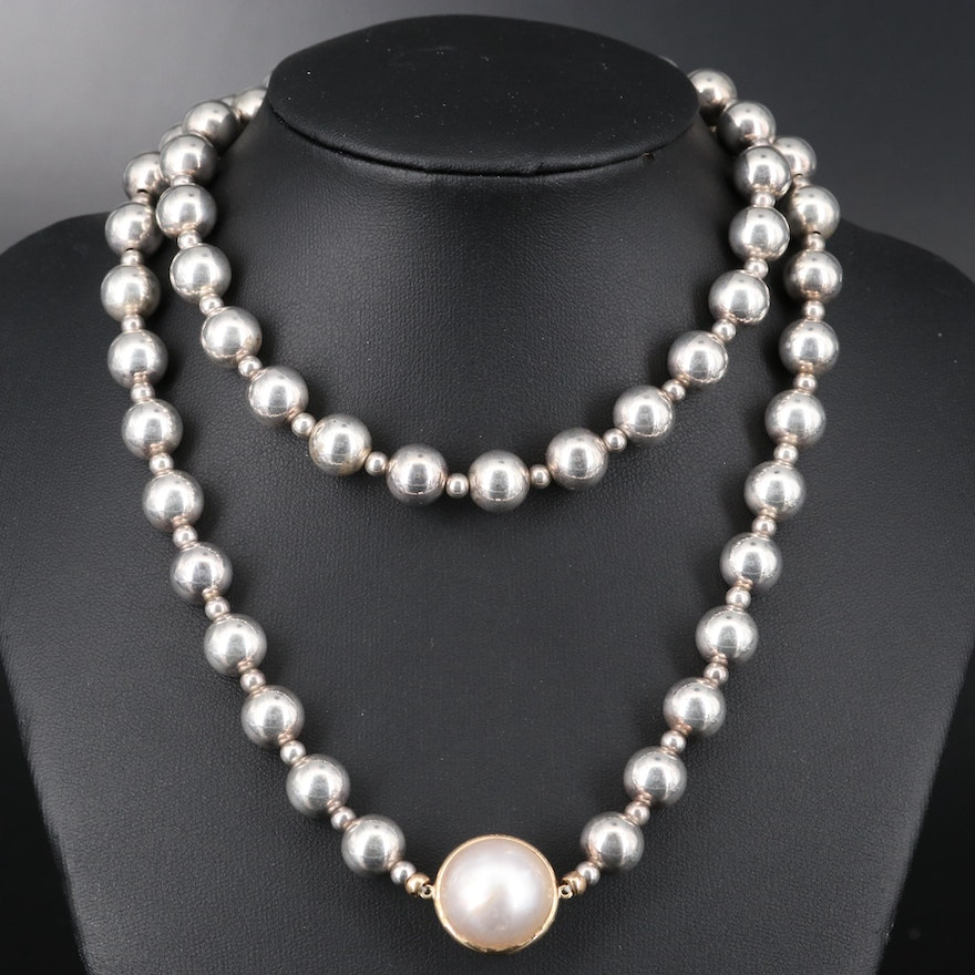 Mabé Pearl with 14K Bezel on Sterling Bead Necklace
