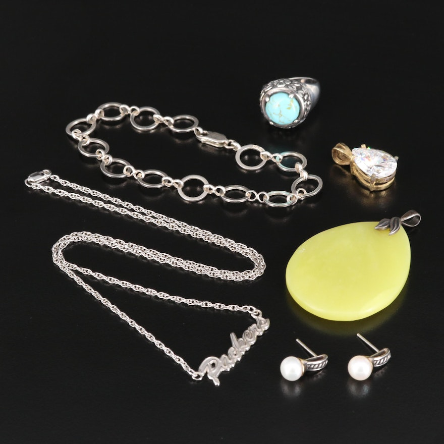 Sterling Jewelry Featuring Soapstone Pendant and Pearl Earrings