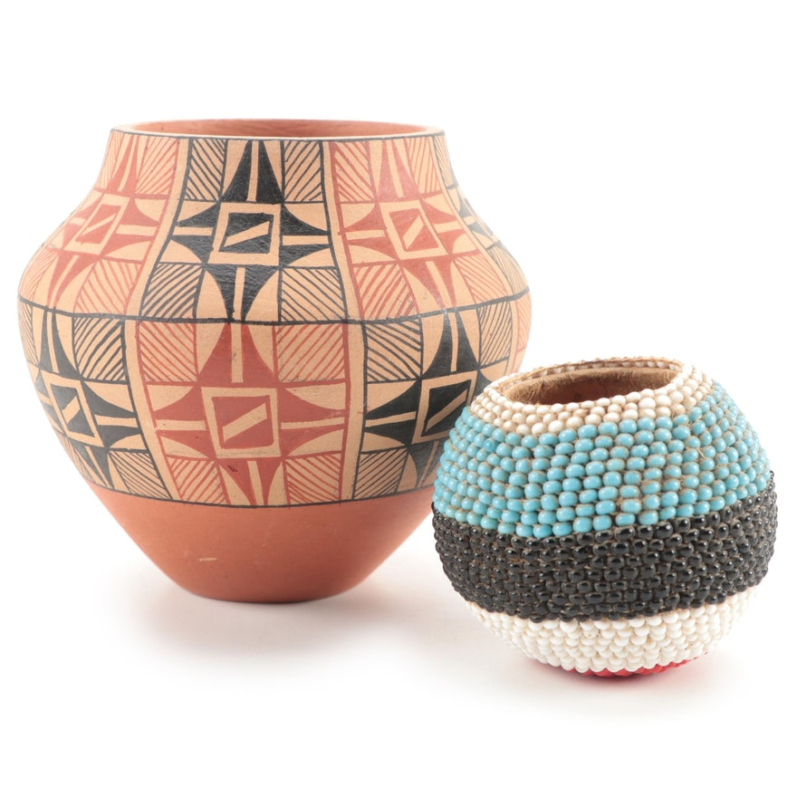 Tosa Jemez Pueblo Polychrome Pottery Vase with Other Beaded Gourd Bowl