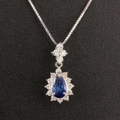 18K Sapphire and Diamond Halo Drop Pendant Necklace