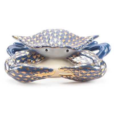 "Herend Cobalt with Gold Fishnet ""Crab"" Porcelain Figurine"