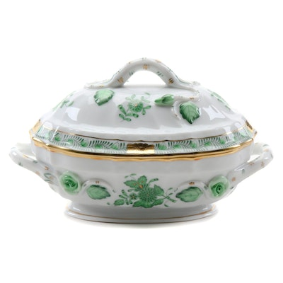 "Herend ""Chinese Bouquet Green"" Porcelain Tureen, 1994"