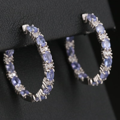 Sterling Silver Tanzanite and Cubic Zirconia Inside-Out Hoop Earrings