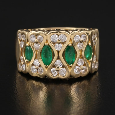 18K Emerald and Diamond Ring Featuring Double Heart Design