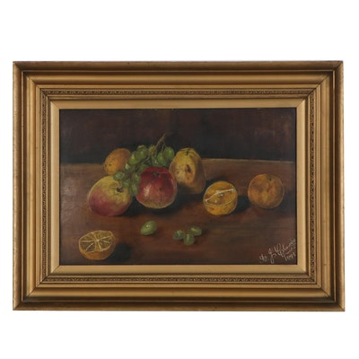 Still Life Oil Painting of Fruit, 1895