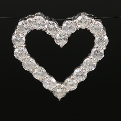 Platinum 2.10 CTW Diamond Open Heart Pendant