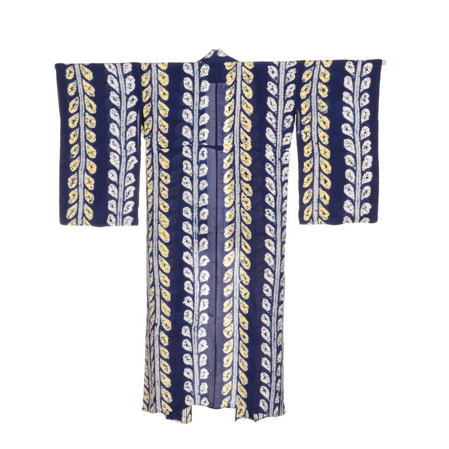 Japanese Blue and Yellow Abstract Patterned Shibori Hitoe Kimono