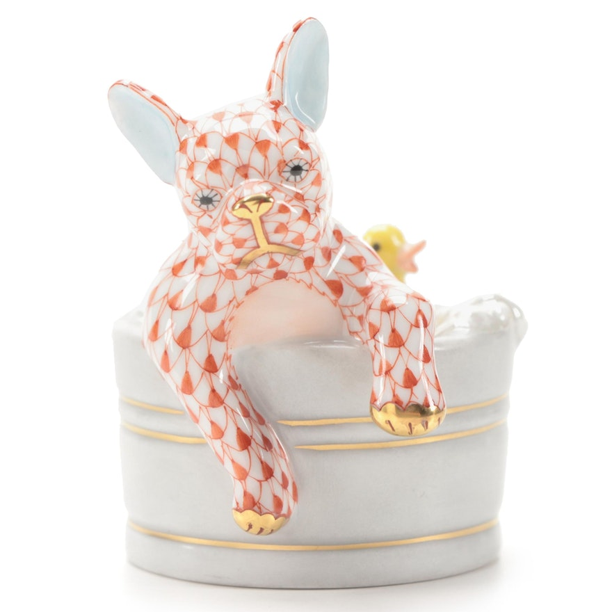 """Herend Rust Fishnet with Gold """"Squeaky Clean"""" Porcelain Figurine"""