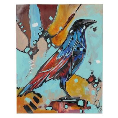Martina K. Rehrmann Acrylic Painting of Raven