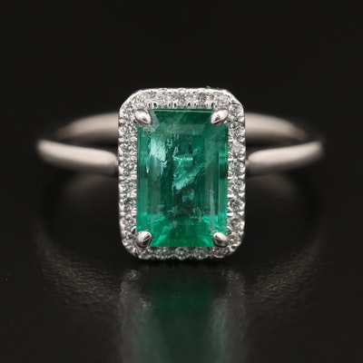 14K 1.81 CT Emerald and Diamond Ring With GIA Report