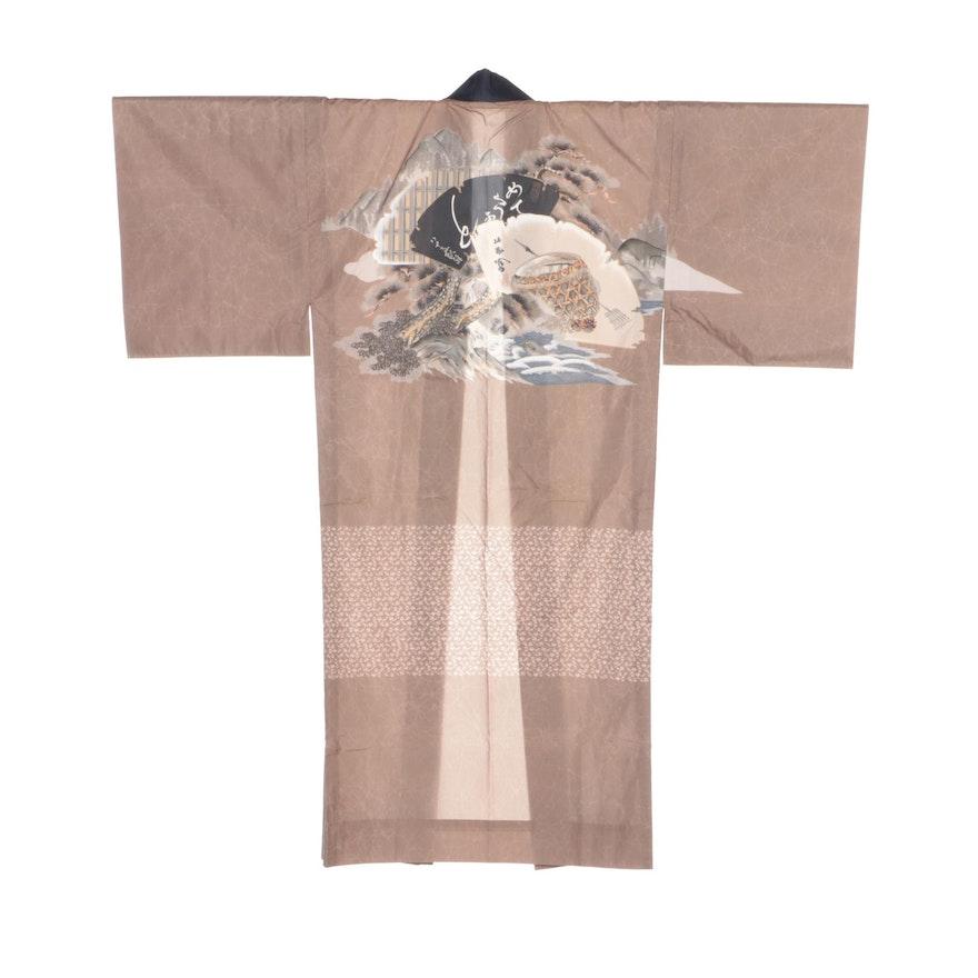 Japanese Hand-Painted Scenic Juban