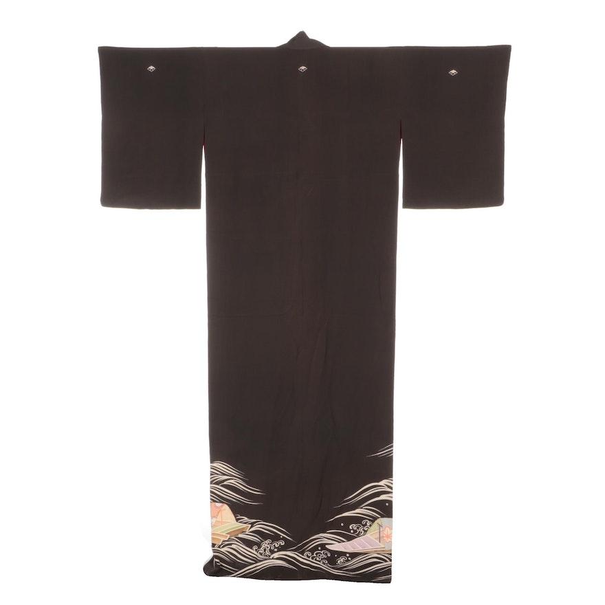 Japanese Five Mon Silk Wasan Mizu Kurotomesode Kimono, Taishō Period
