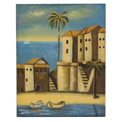 Mediterranean Vista Acrylic Impasto Painting, Late 20th Century
