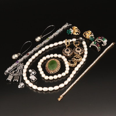 Necklaces, Earrings and Converter Brooch Including Amethyst, Topaz and More