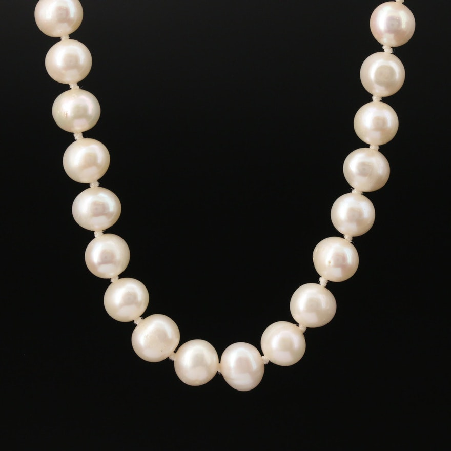 Knotted Semi-Baroque Pearl Necklace with 14K Clasp