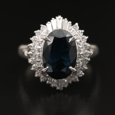 Platinum 3.11 CT Sapphire and Diamond Ring