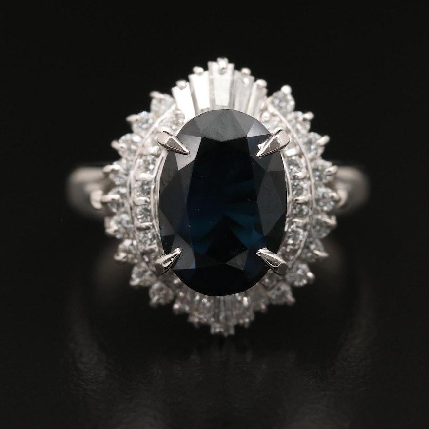 Platinum 3.11 CT Sapphire and Diamond Ring