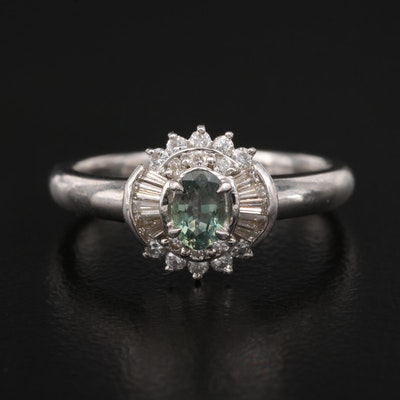 Platinum Alexandrite and Diamond Ring