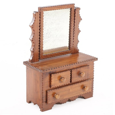 American Tramp Art String-Inlaid and Chip-Carved Walnut Miniature Dresser