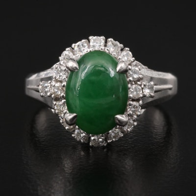 Platinum Jadeite Ring with Diamond Halo