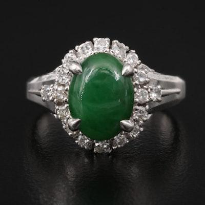 Platinum Jadeite Ring with Diamond Halo