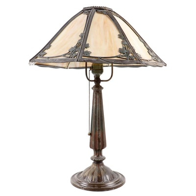 Bradley & Hubbard Brass Table Lamp with Slag Glass and Metal Overlay Shade