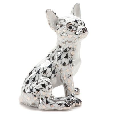 "Herend Platinum Fishnet ""Chihuahua"" Porcelain Figurine"