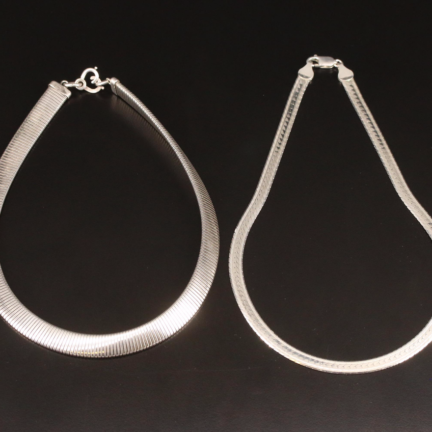 Sterling Silver Herringbone and Tubogas Chain Necklaces