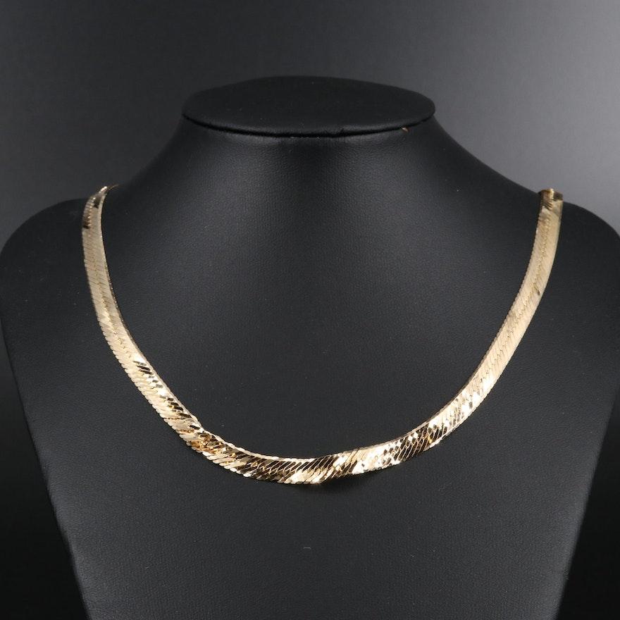 14K Scrap Herringbone Chain Necklace
