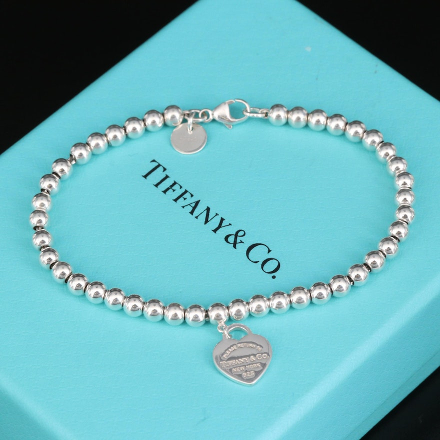 """Tiffany & Co. Sterling Bead Bracelet with """"Return to Tiffany"""" Heart Tag"""
