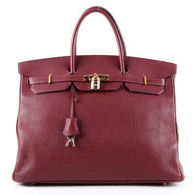 Hermès Birkin 40cm Satchel in Bordeaux Togo Leather