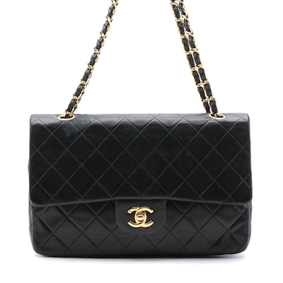 Modified Chanel Quilted Classic Double Flap Bag in Black Leather