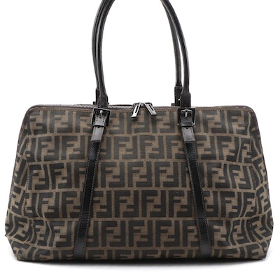 Fendi Large Zip Around Bowler Bag in Zucca Canvas and Brown Leather Trim