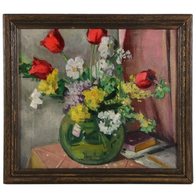 Catherine M. Ogren Floral Still Life Oil Painting, Mid to Late 20th Century