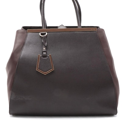 Fendi Large 2Jours Tote Bag in Brown Saffiano and Smooth Leather