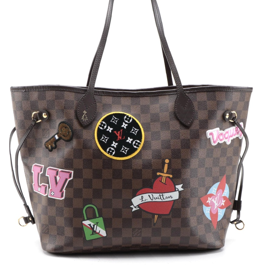 Louis Vuitton Limited Edition Neverfull MM in Damier Ebene Capsule Hiver Patches