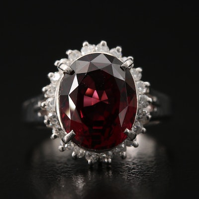 Platinum Garnet and Diamond Ring