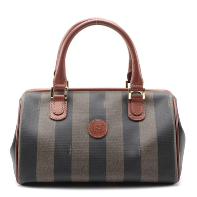 Fendi Pequin Stripe Coated Canvas Two-Way Doctor Bag