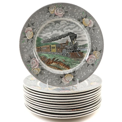 "Adams ""Currier & Ives"" Ironstone Dinner Plates"