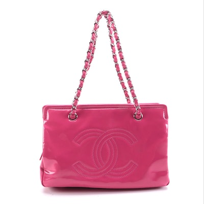 Chanel CC Lipstick Ligne Tote Bag in Hot Pink Patent Leather