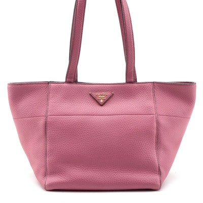 Prada Pink Vitello Daino Leather Small Tote