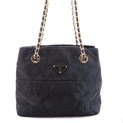 Prada Quilted Tessuto Shoulder Bag in Black Nylon and Leather